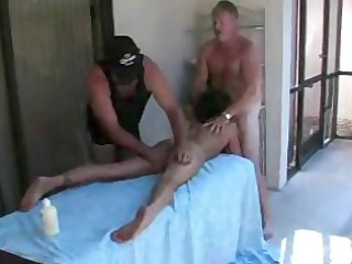 older swingers party by the swimmingpool with