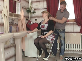 smart boy bangs his mother into law