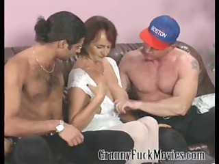 elderly with firm tits drilling two