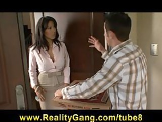 hot brunette milf sienna west gang-bangs her